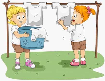 Kids doing chore