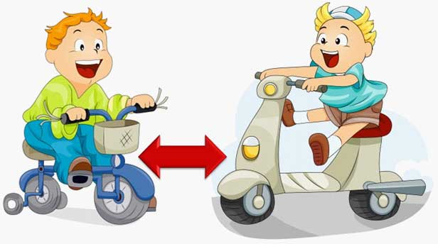 Kids riding tricycle and scooter