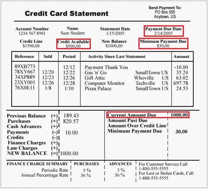 Credit card statement sample