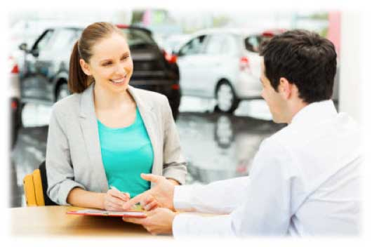 Lady buying a car