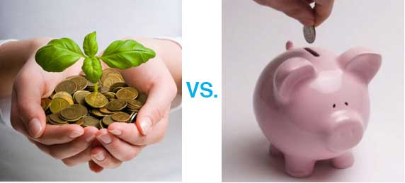 Tree growing on bed of coins vs piggy bank