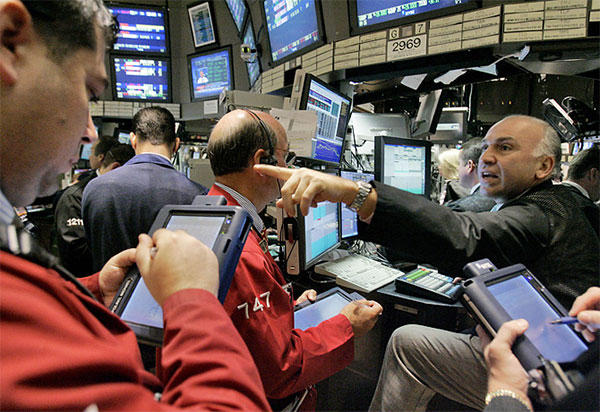 People trading in the stock market