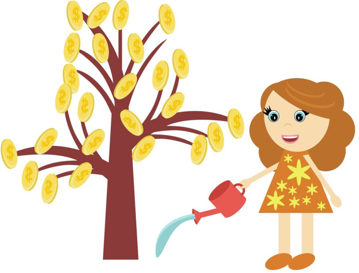 Girl watering coin tree