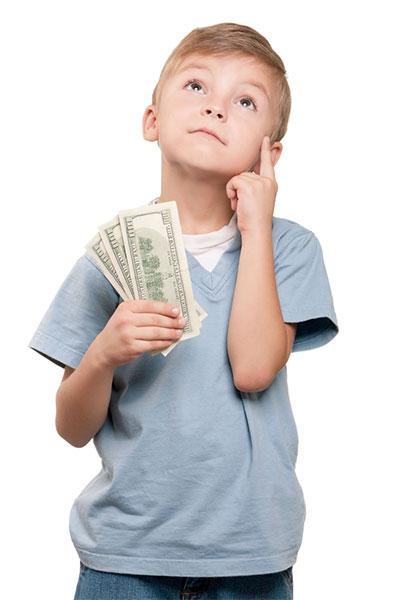 Boy thinking of investing
