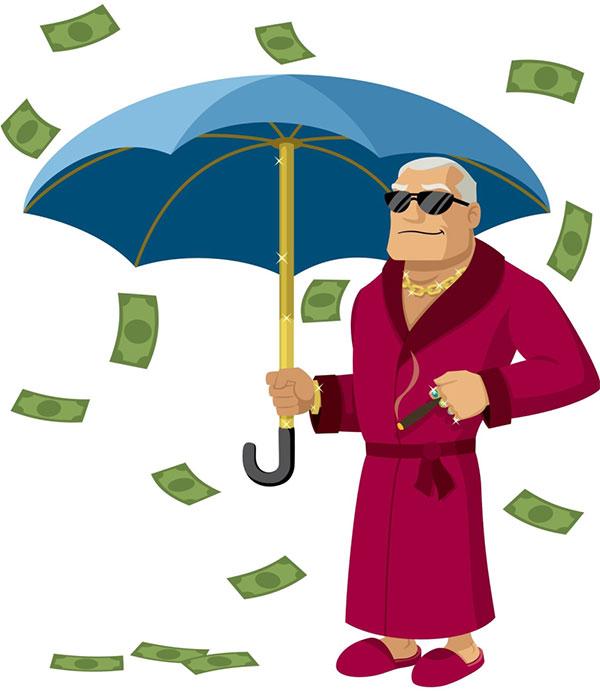raining money on man