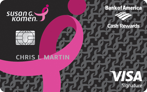 susan g. komen cash rewards visa credit card from bank of america